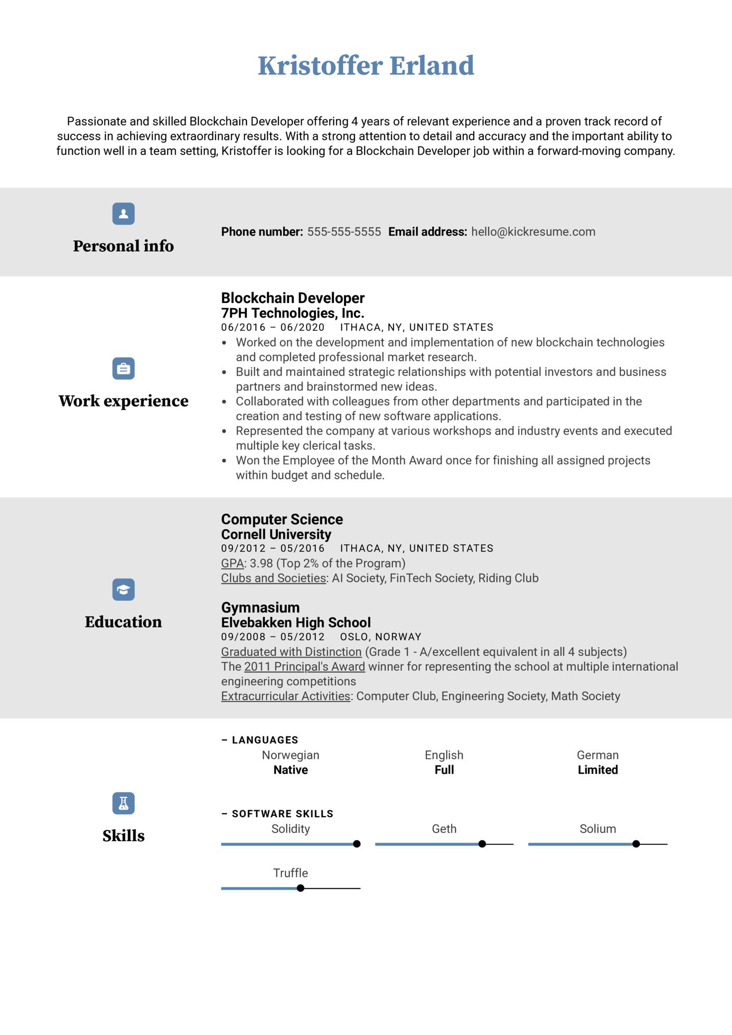 Blockchain Developer Resume Example
