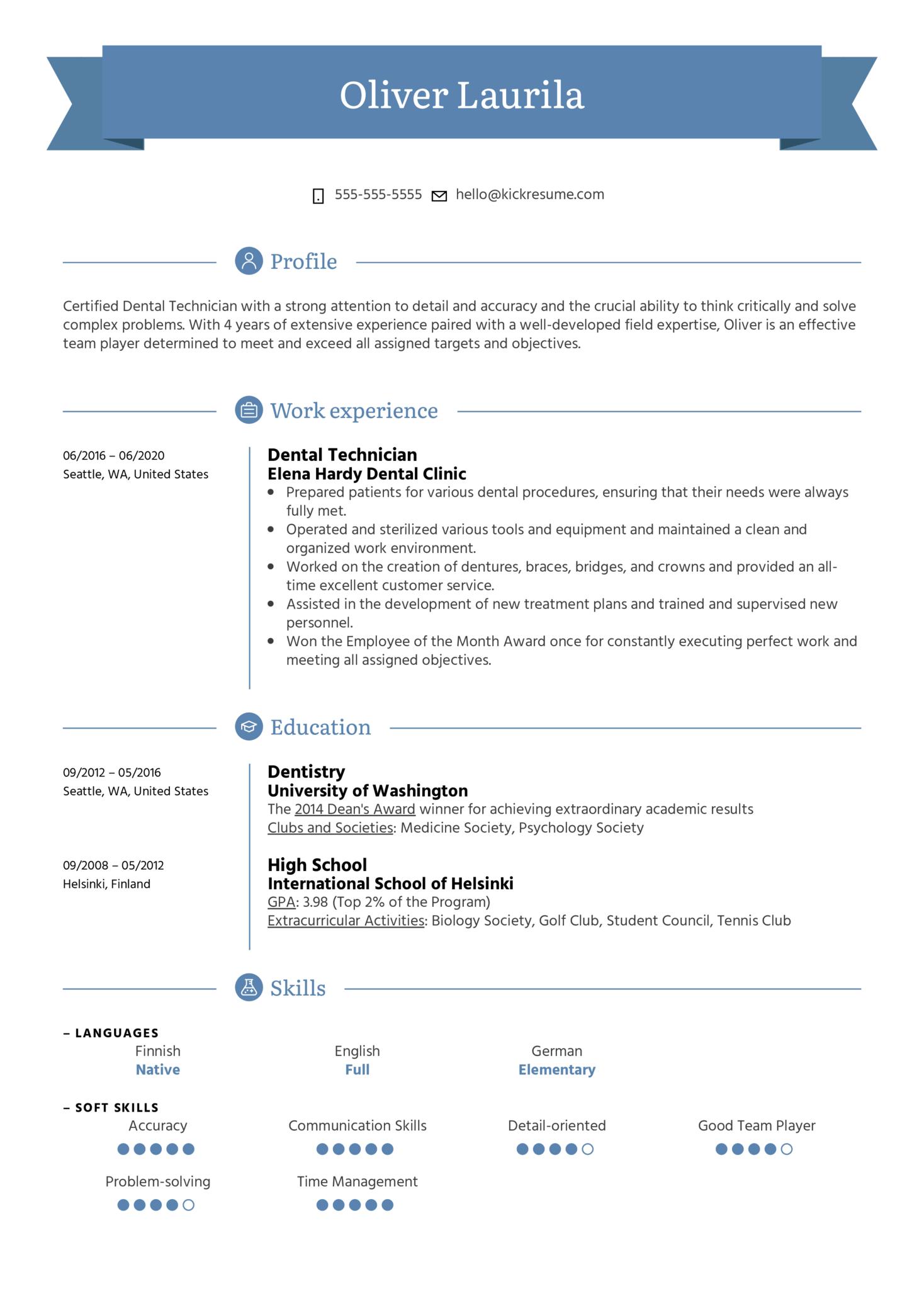 Dental Technician Resume Example