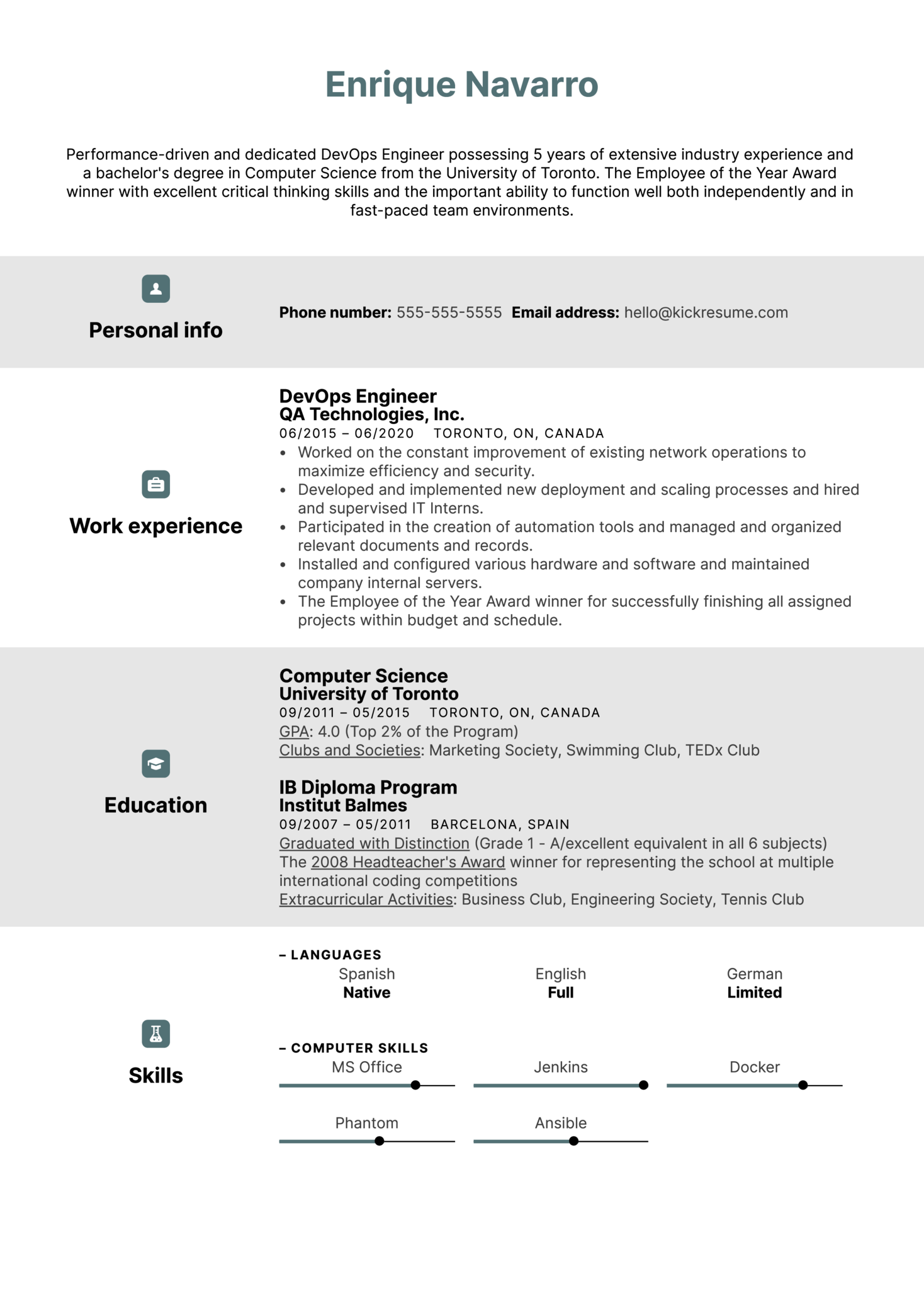 DevOps Engineer Resume Sample