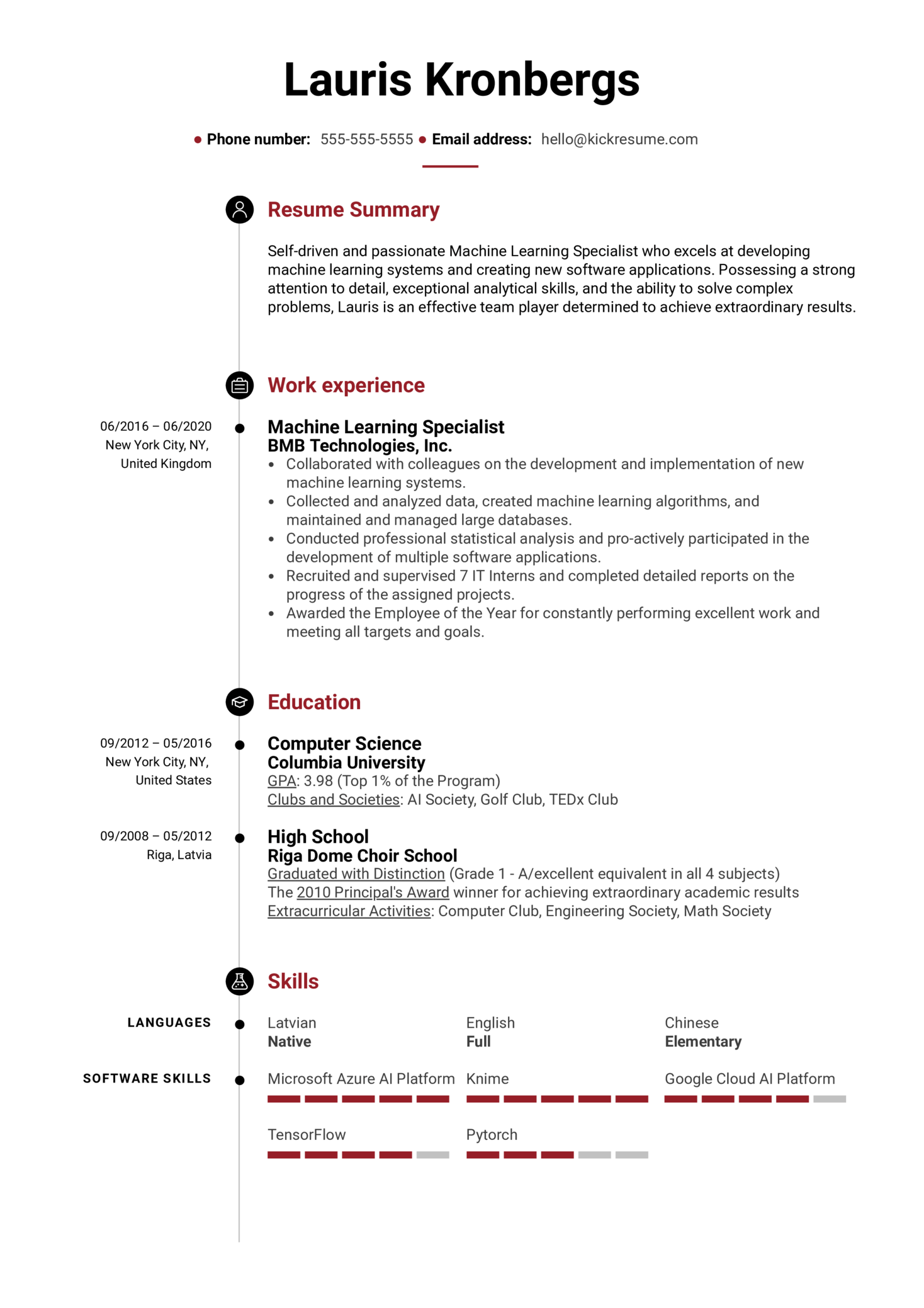 Machine Learning Specialist Resume Example (časť 1)