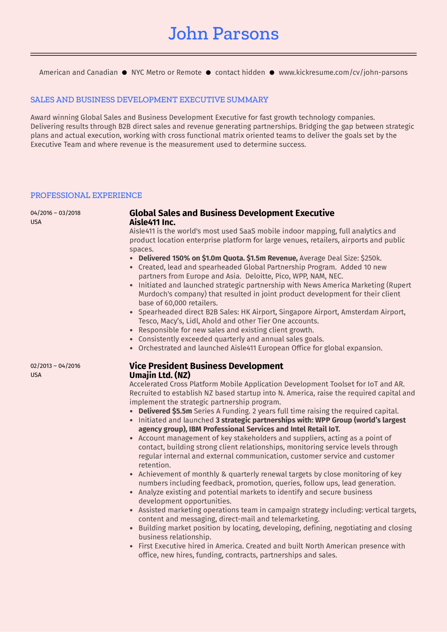 Business Development Executive Resume Sample Kickresume