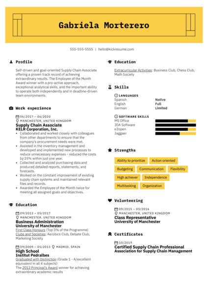 Supply Chain Associate Resume Example