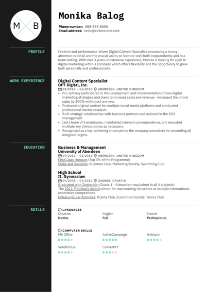 Digital Content Specialist Resume Example