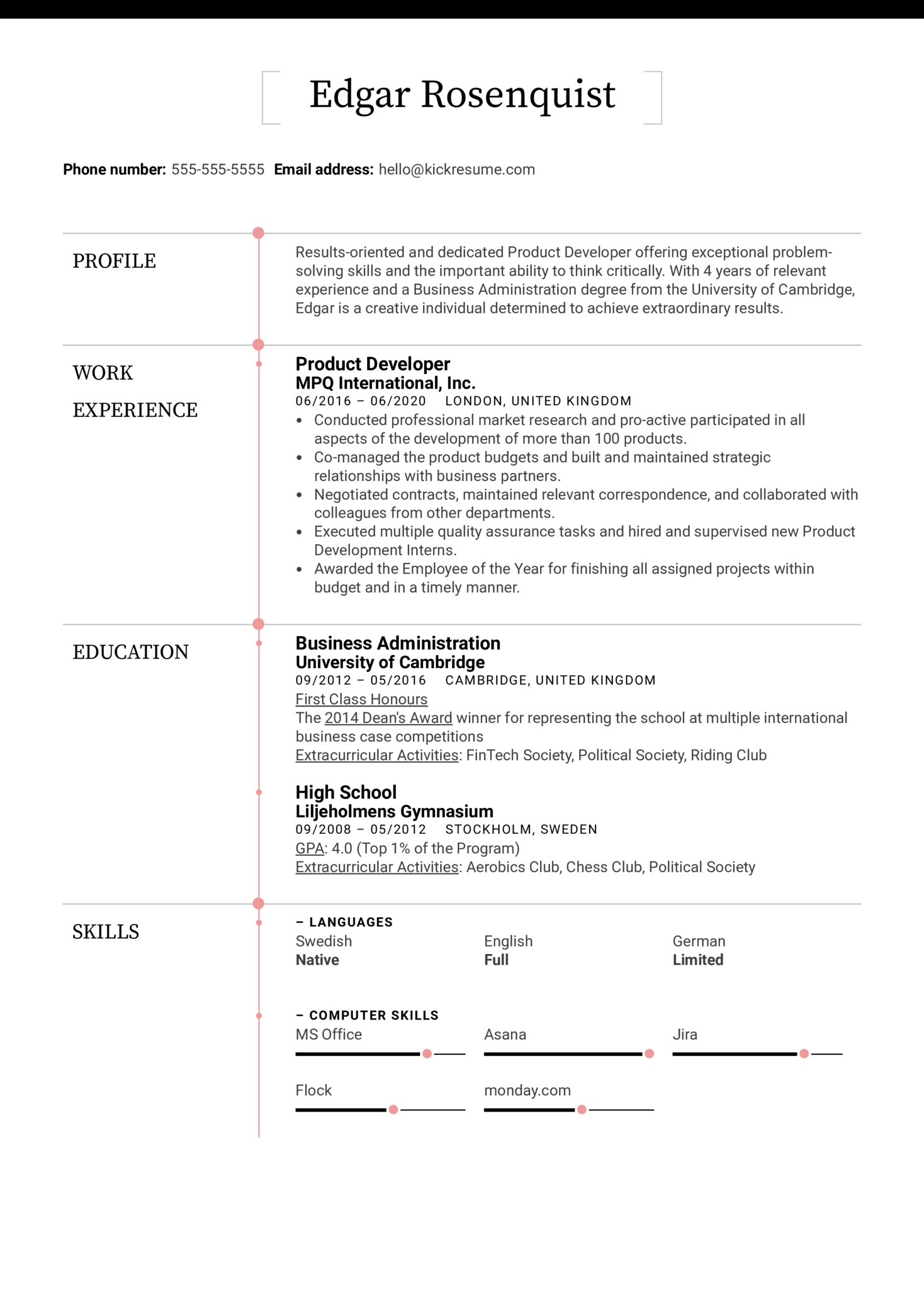 Product Developer Resume Sample (Part 1)