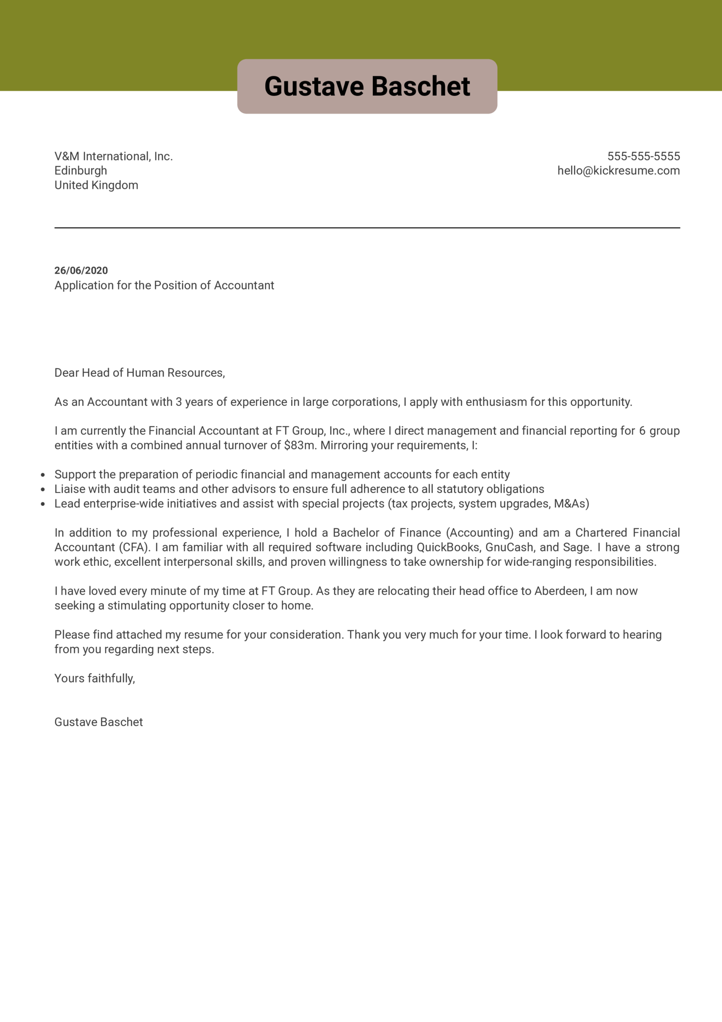 Professional Accountant Cover Letter Example