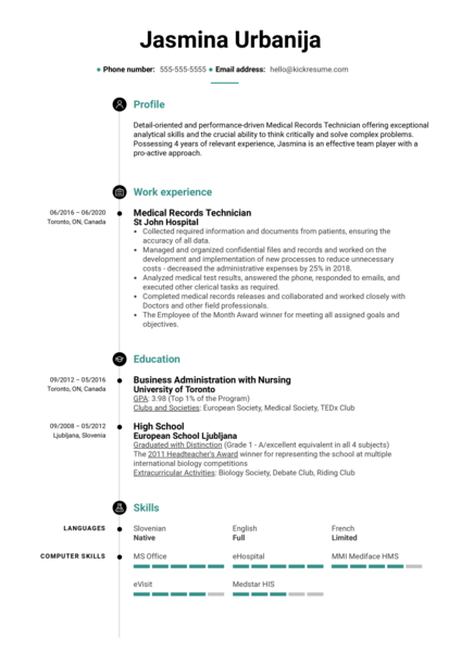 Medical Records Technician Resume Example