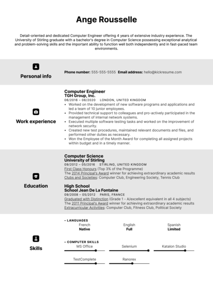 Computer Engineer Resume Example