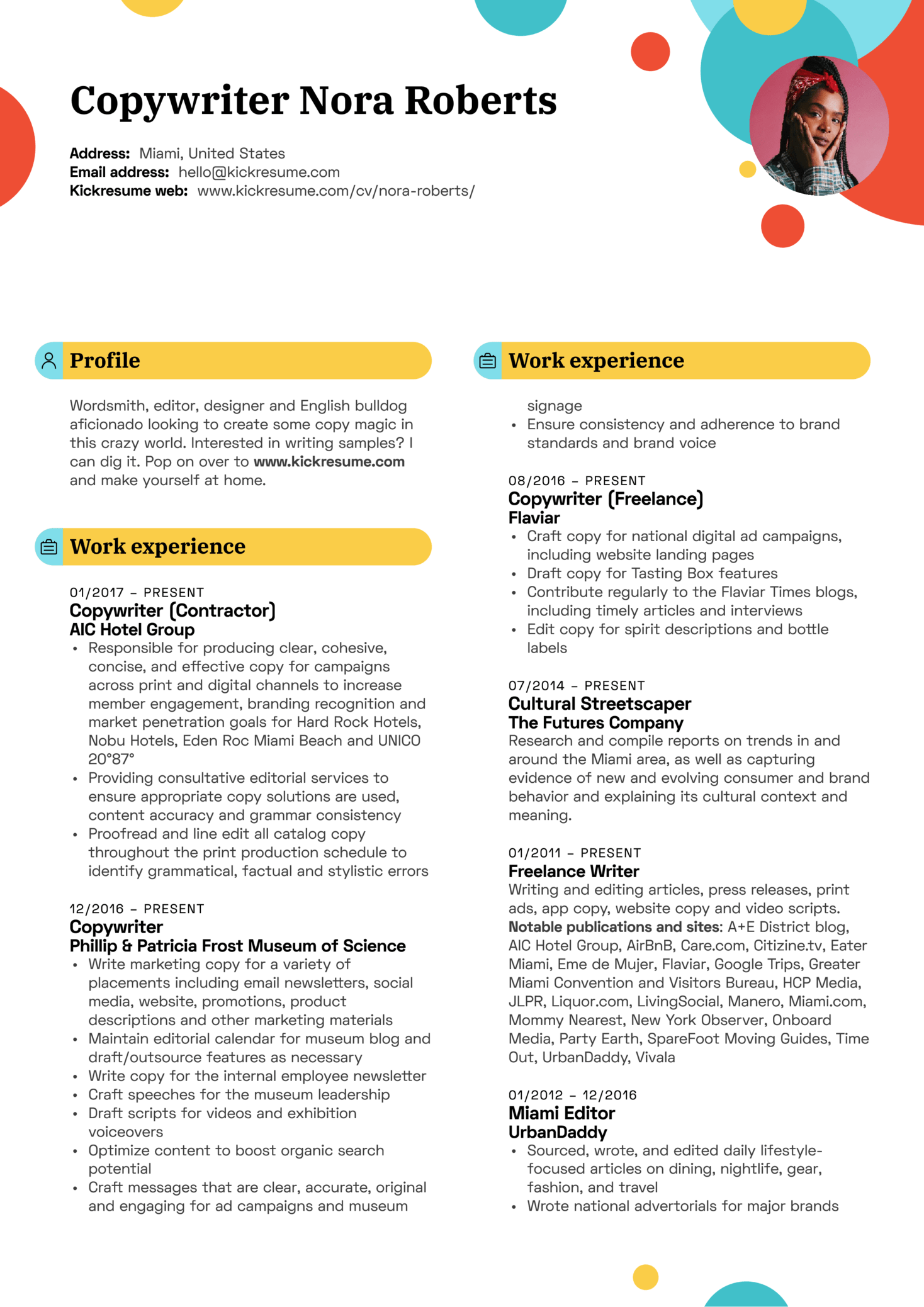 Hard Rock Hotel Copywriter Resume Template (Teil 1)