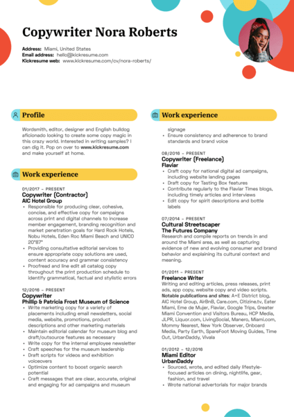 Hard Rock Hotel Copywriter Resume Template