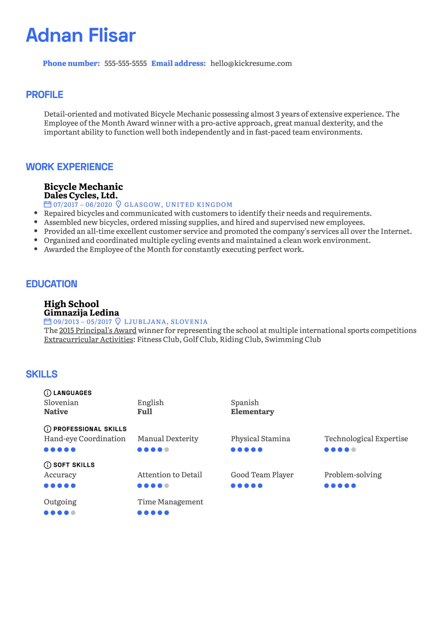 Bicycle Mechanic Resume Example (Part 1)
