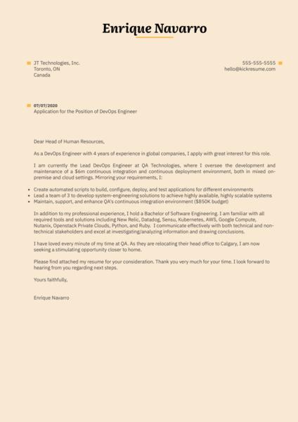 DevOps Engineer Cover Letter Example