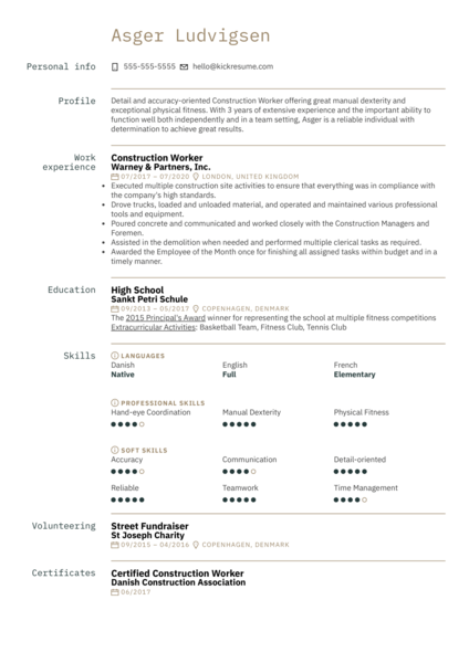 Free Construction Resume Example
