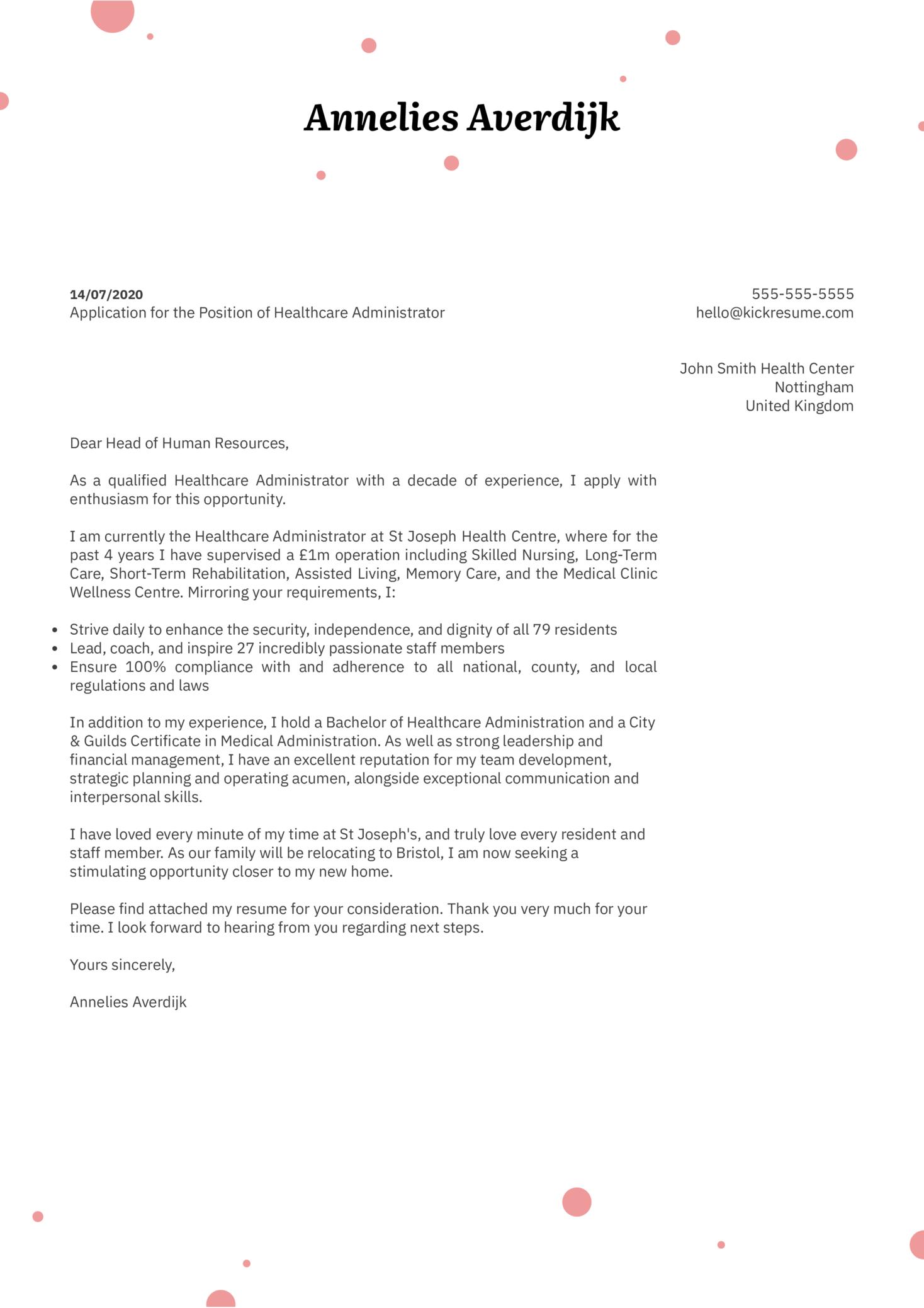 Healthcare Administrator Cover Letter Sample Kickresume