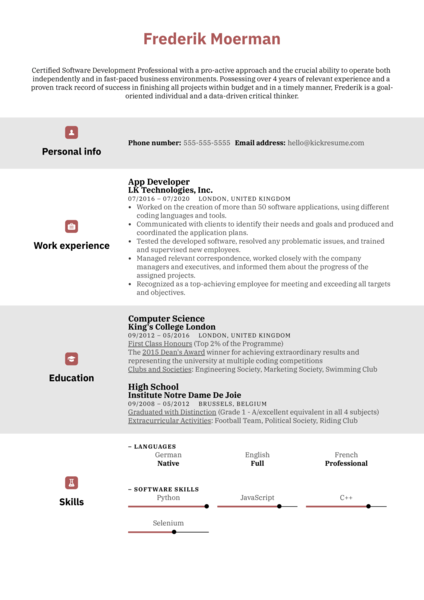 App Developer Resume Example