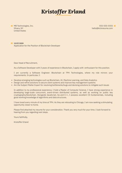 Blockchain Developer Cover Letter Sample