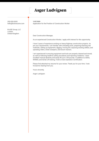 Free Construction Cover Letter Example