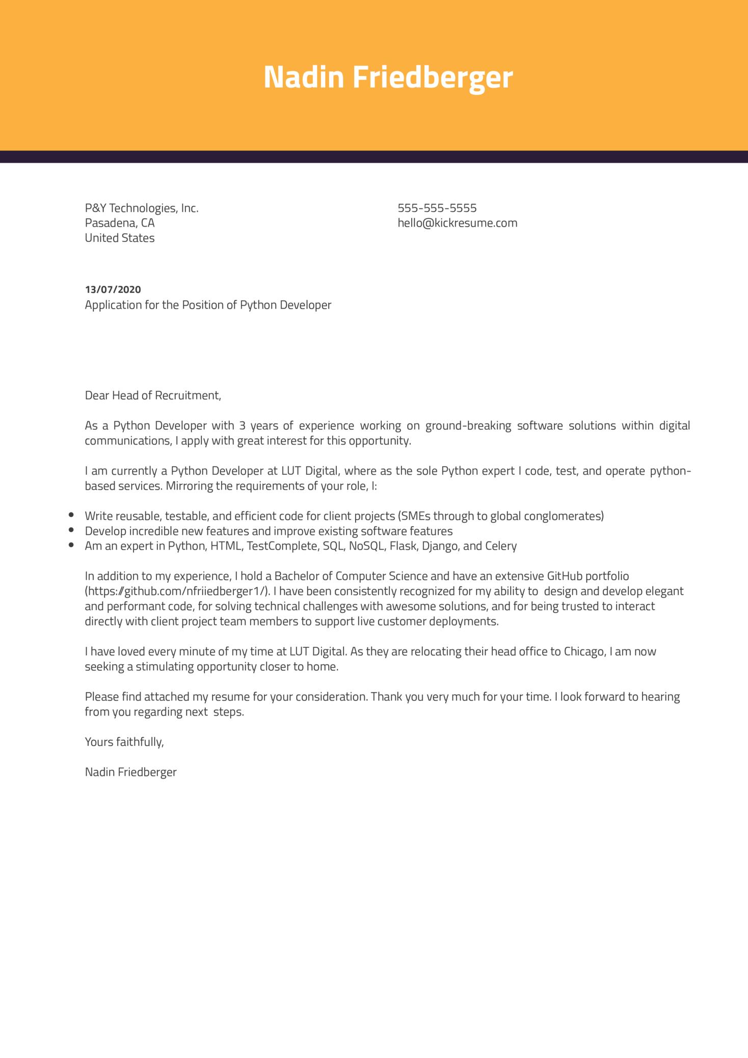 Python Developer Cover Letter Example