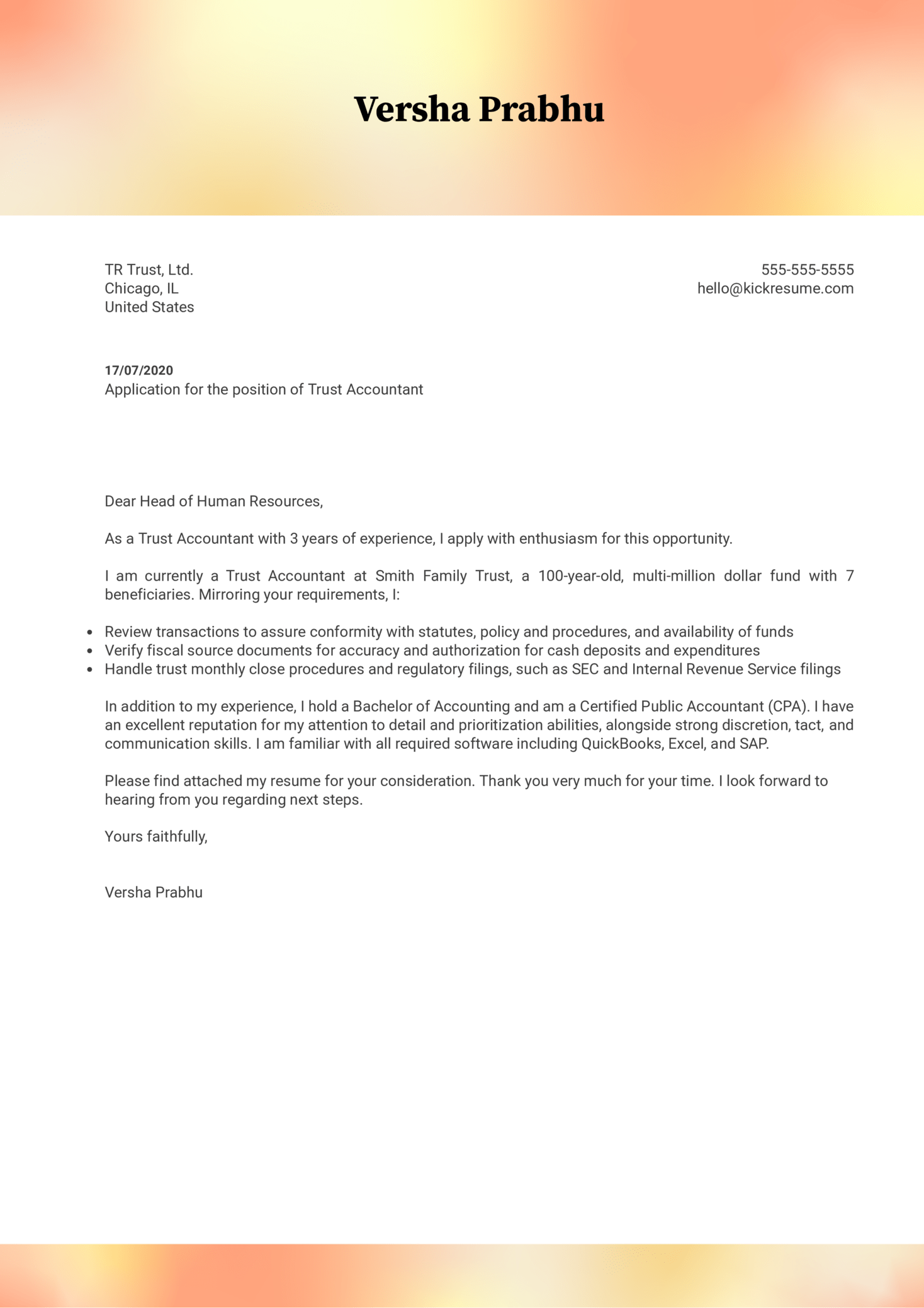 Trust Accountant Cover Letter Example