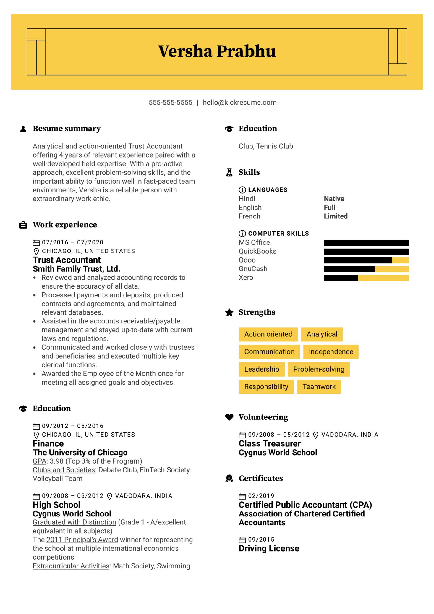 Trust Accountant Resume Example