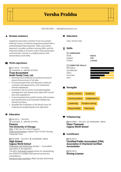 Trust Accountant Resume Example