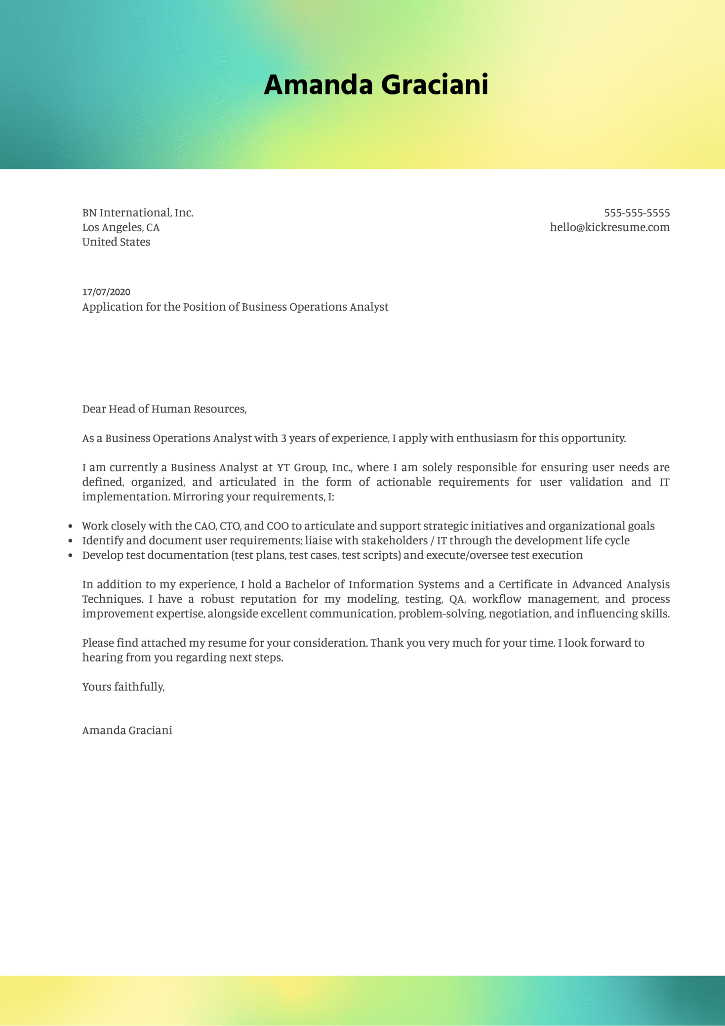 Perfect Cover Letter Example