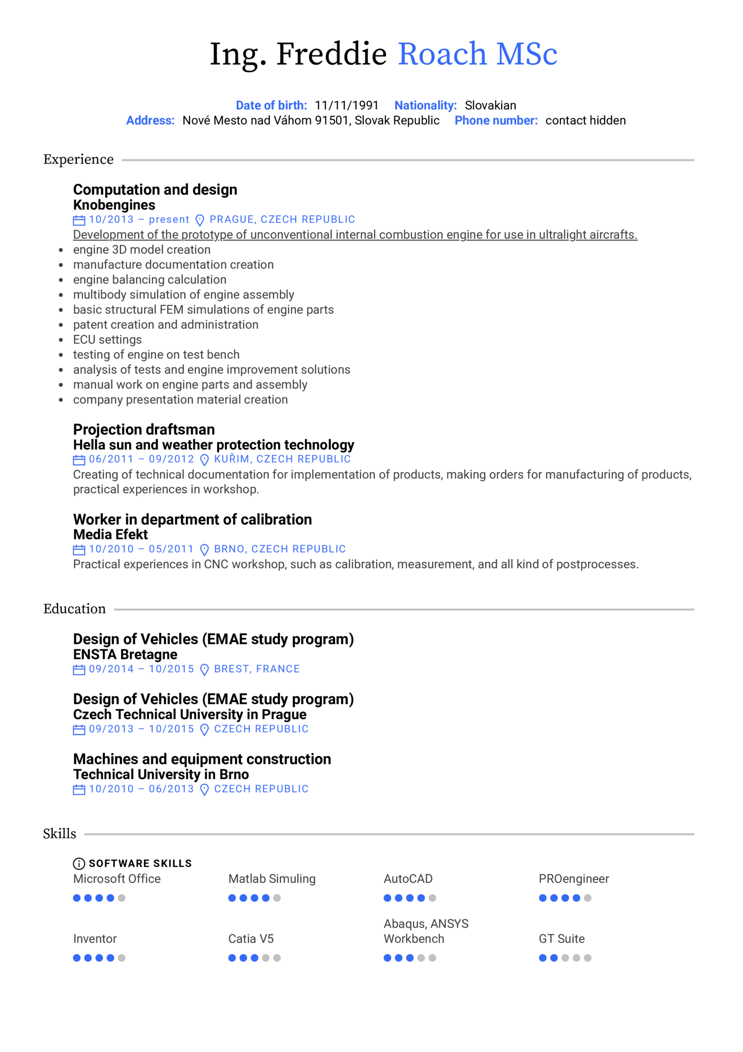 resume examples by real people  aeromobil design engineer