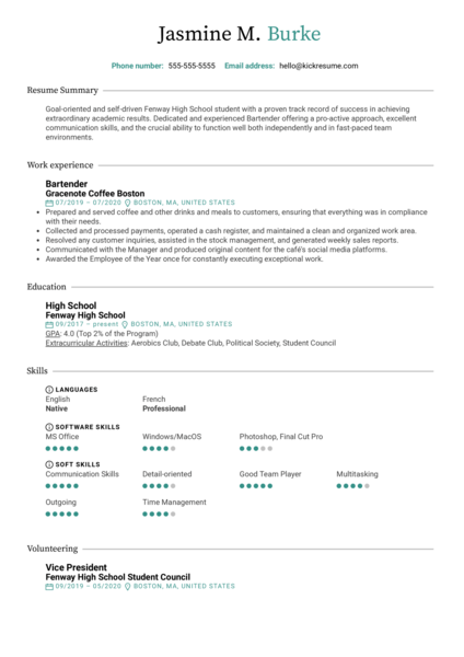 High School CV Template