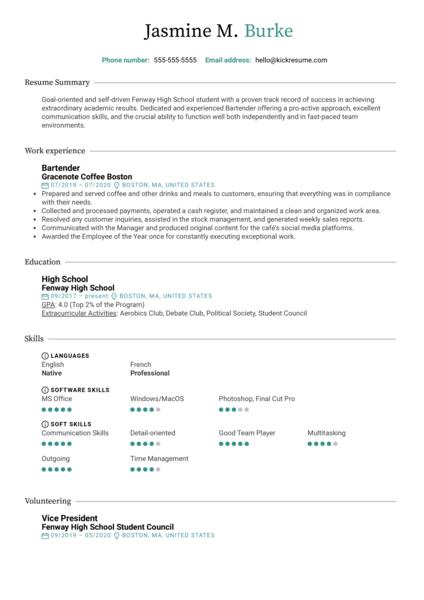 High School CV Template