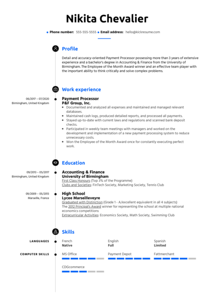 Payment Processing Resume Sample