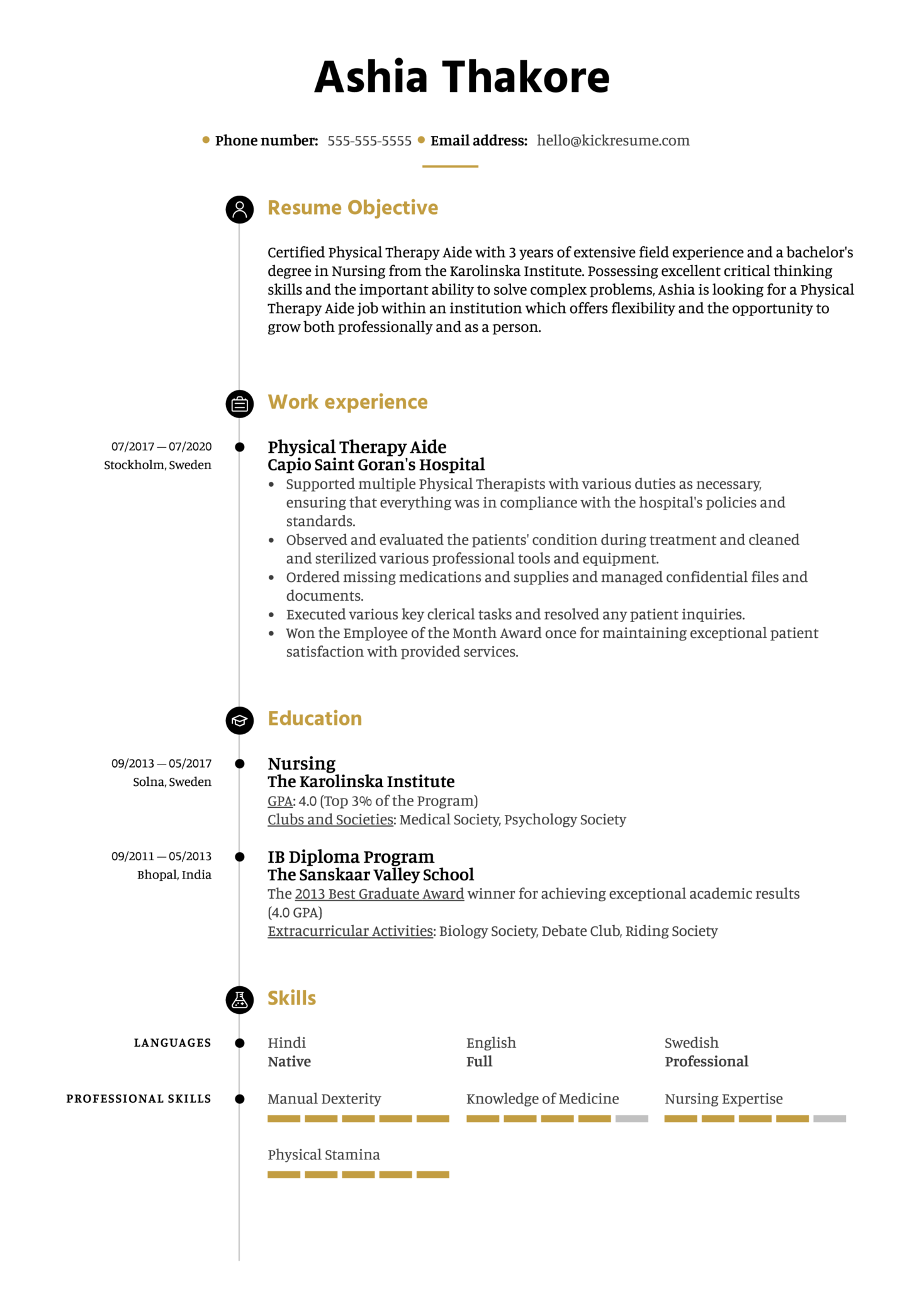 Free Physical Therapy Aide Resume Example