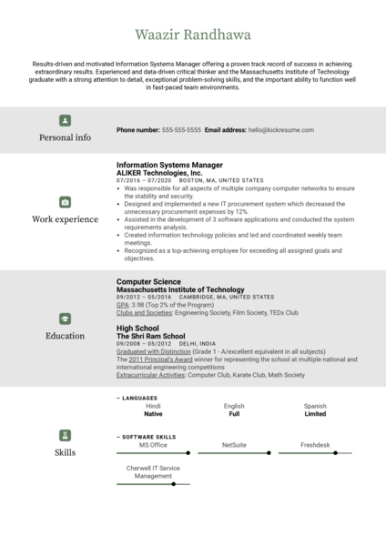 Information Systems Manager Resume Example