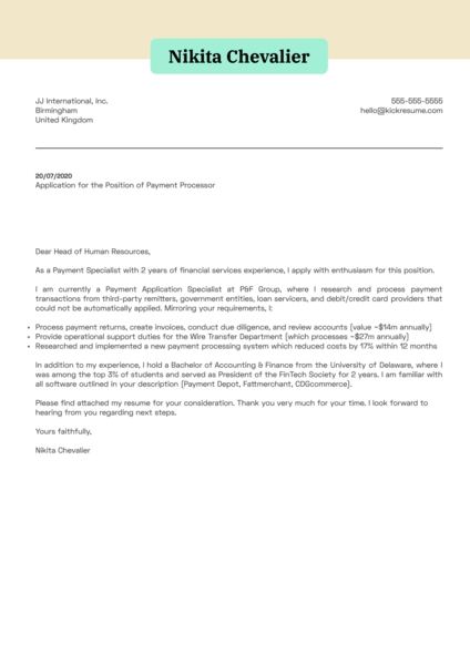 Payment Processor Cover Letter Example