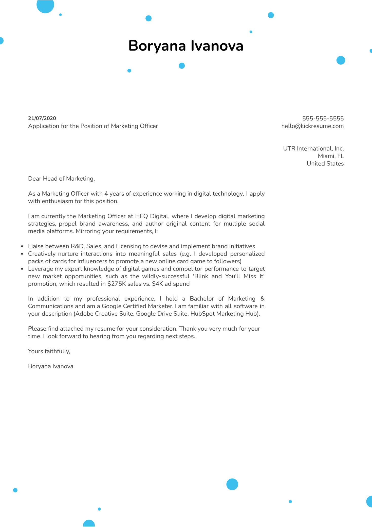 Free Cover Letter Example