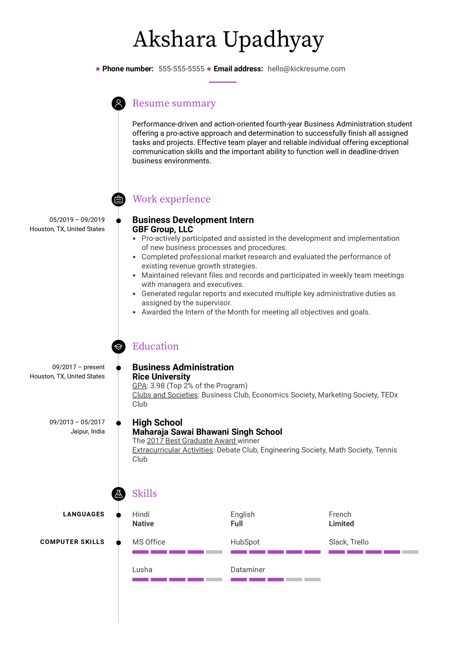 Free College Student Resume Example