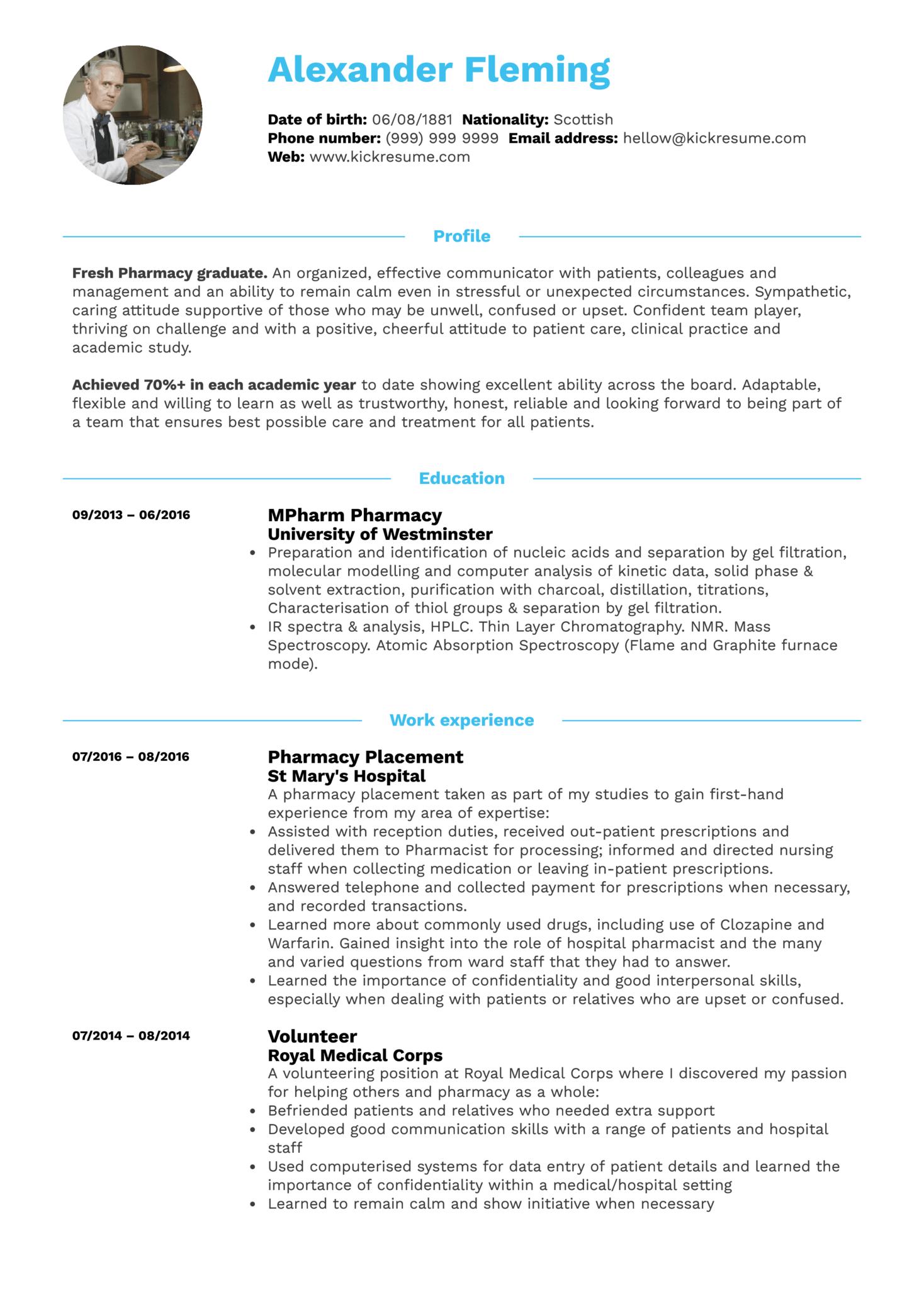student resume pharmacy