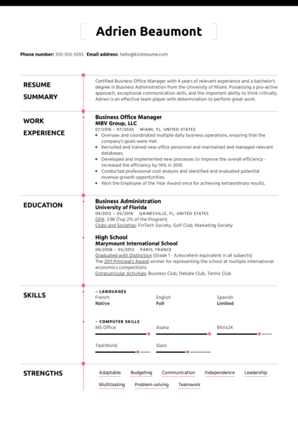 Strengths on a Resume Example