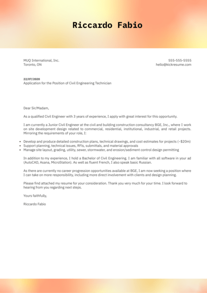 Civil Engineering Technician Cover Letter Example