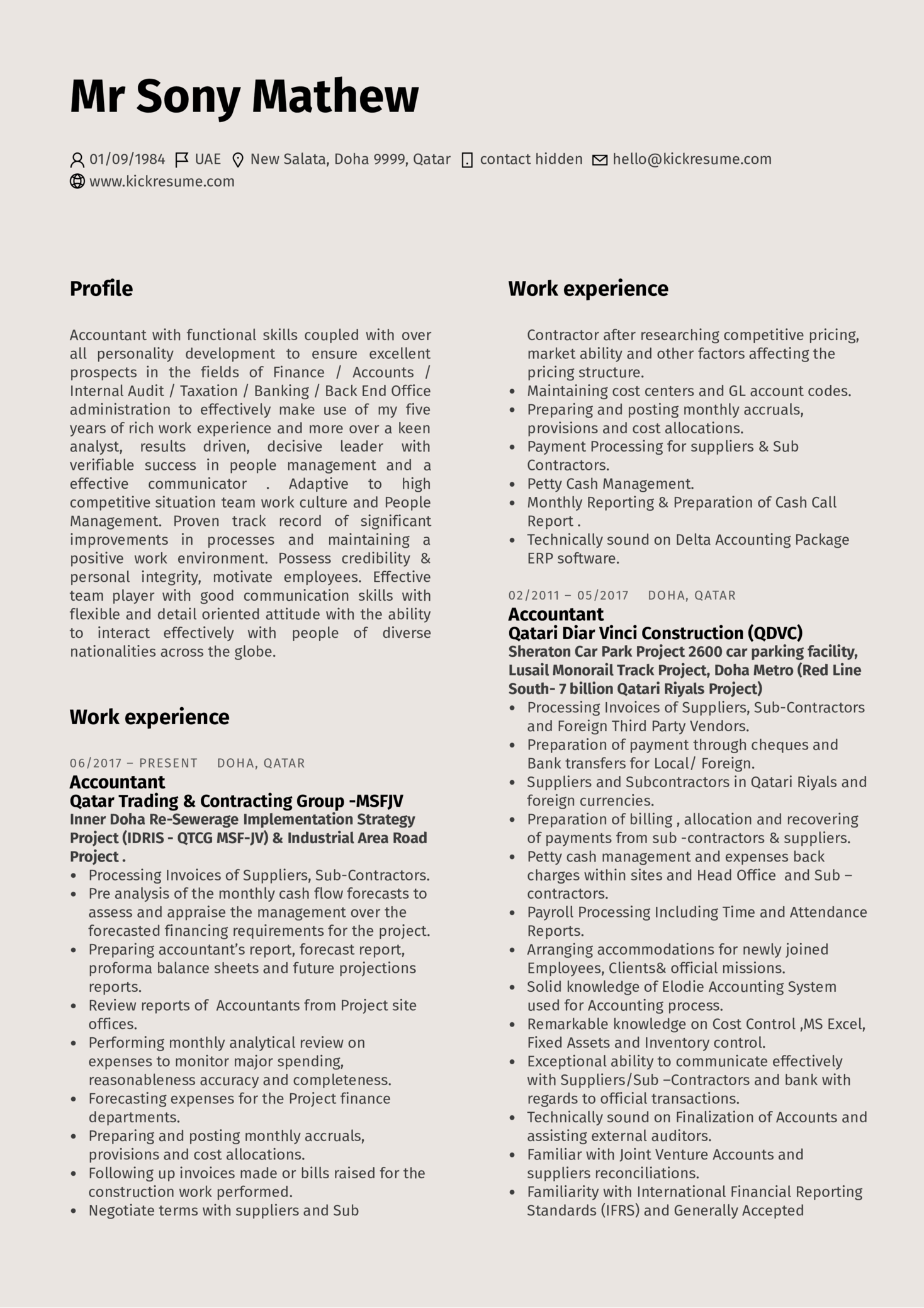 DB Schenker Accountant Resume Example