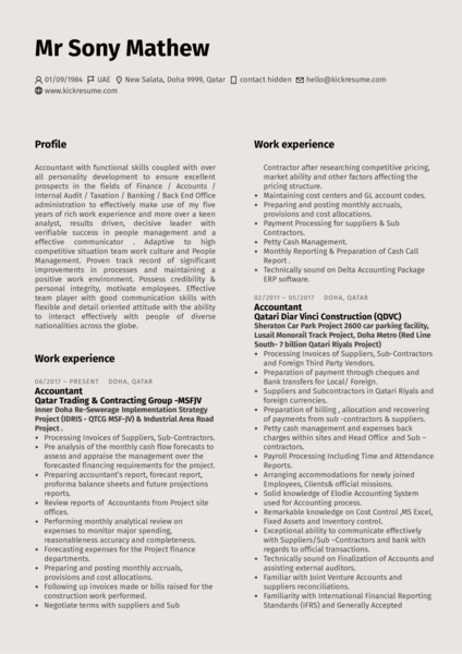 Finance Resume | Accounting Finance Resume Samples From Real Professionals Who Got