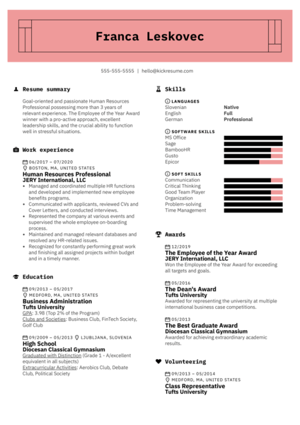 Awards on a Resume Example