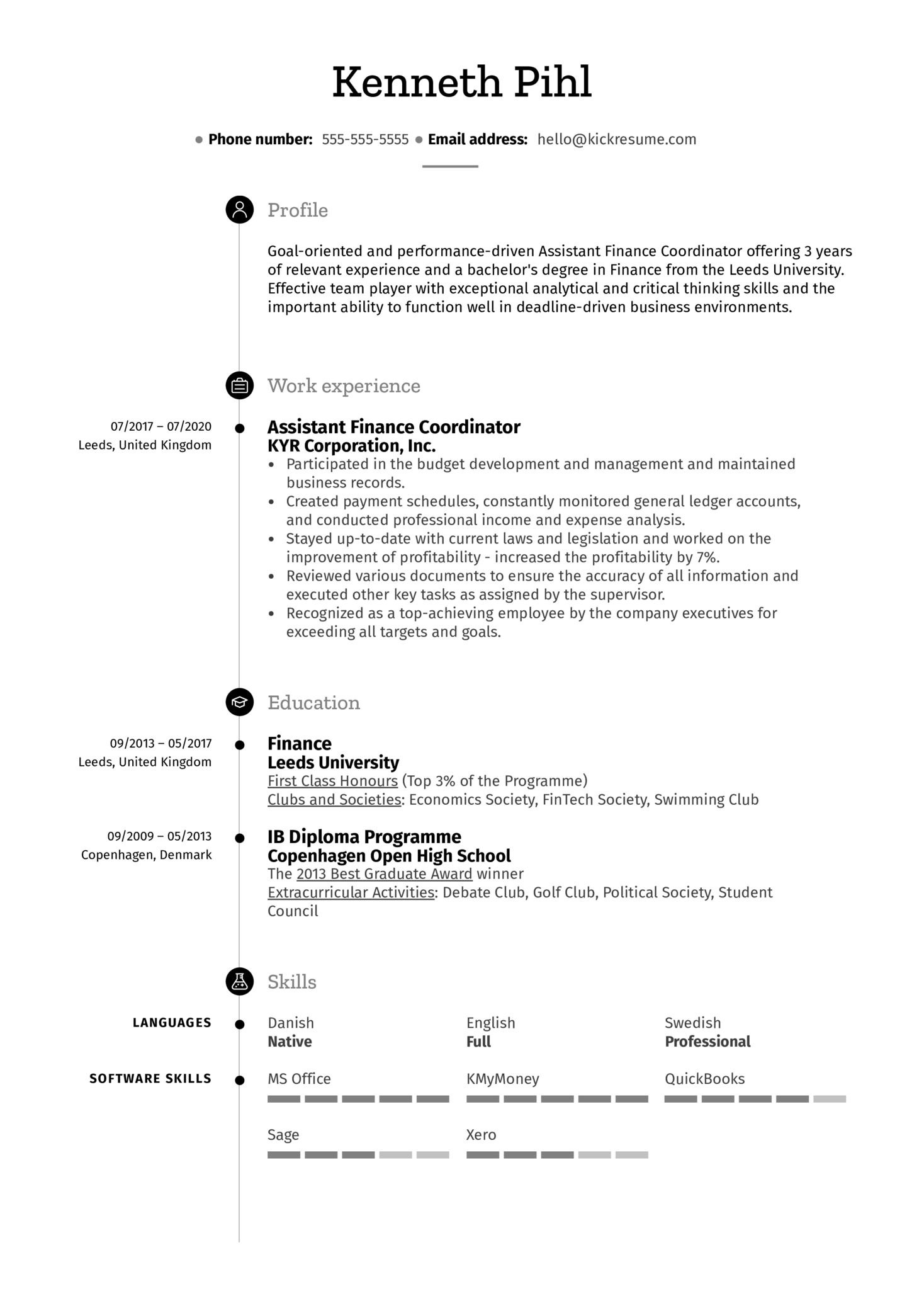 Resume Work Experience Example