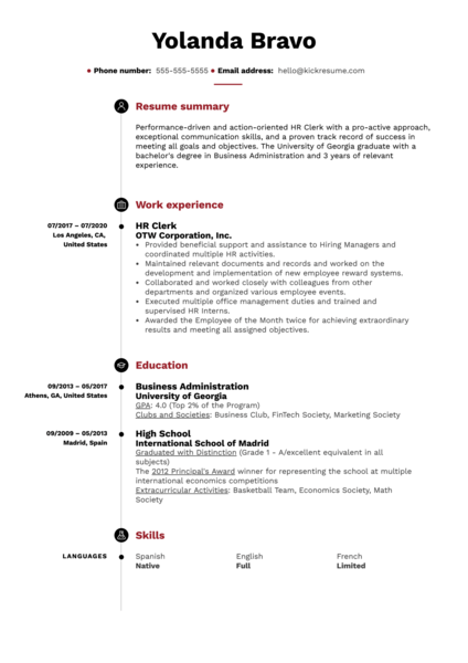 HR Clerk Resume Example