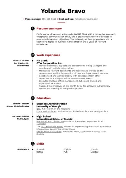 HR Clerk Resume Example