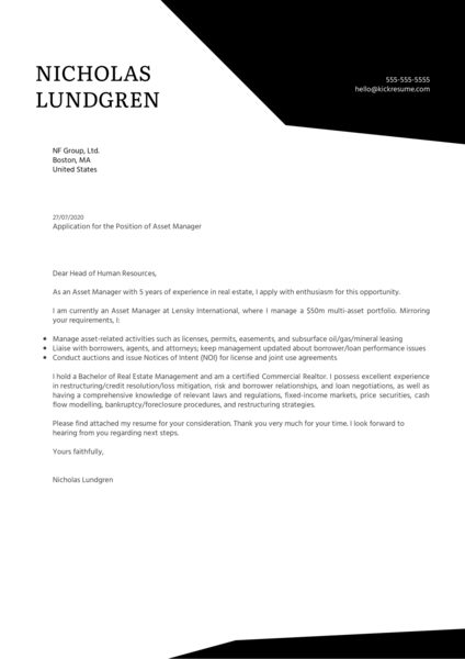 Asset Manager Cover Letter Example Kickresume