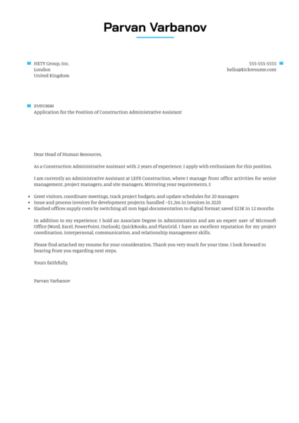 Construction Administrative Assistant Cover Letter Example Kickresume