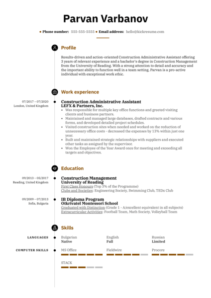 Construction Administrative Assistant Resume Sample