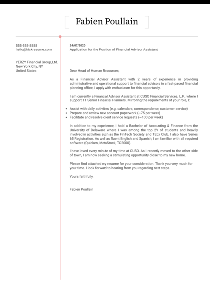 Financial Advisor Assistant Cover Letter Sample
