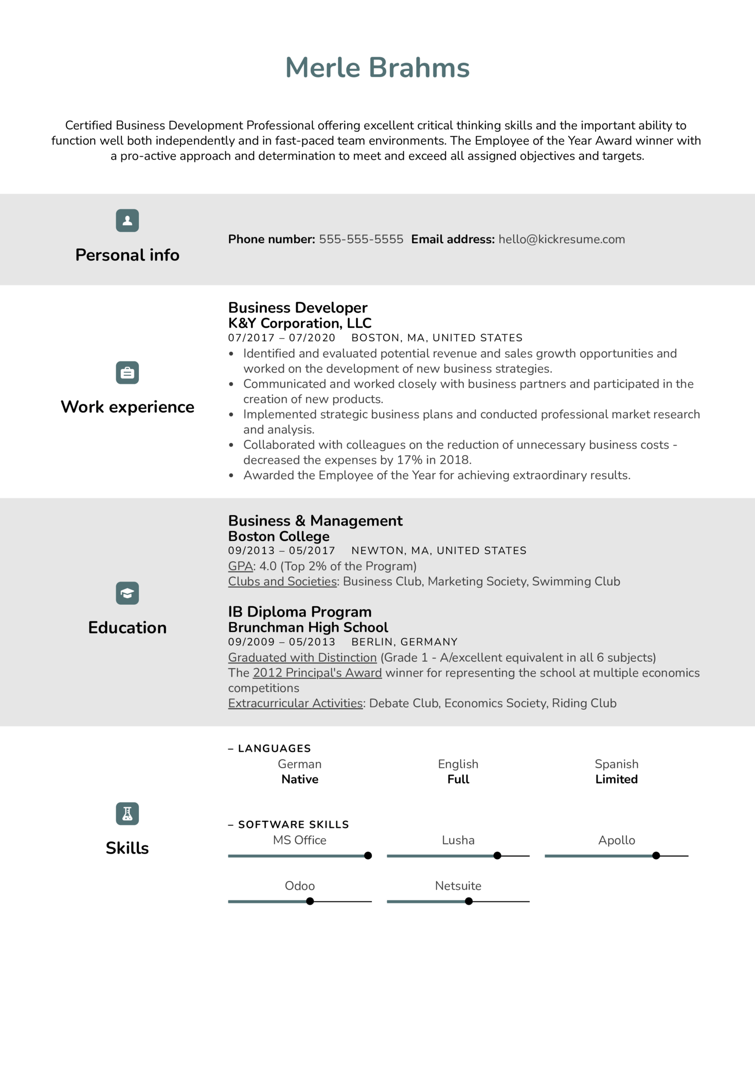Business Developer Resume Example (Part 1)
