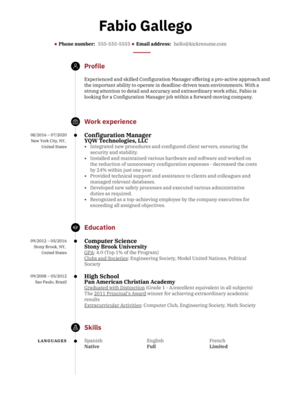 Configuration Manager Resume Example