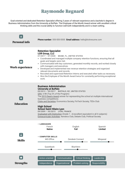 Retention Specialist Resume Example